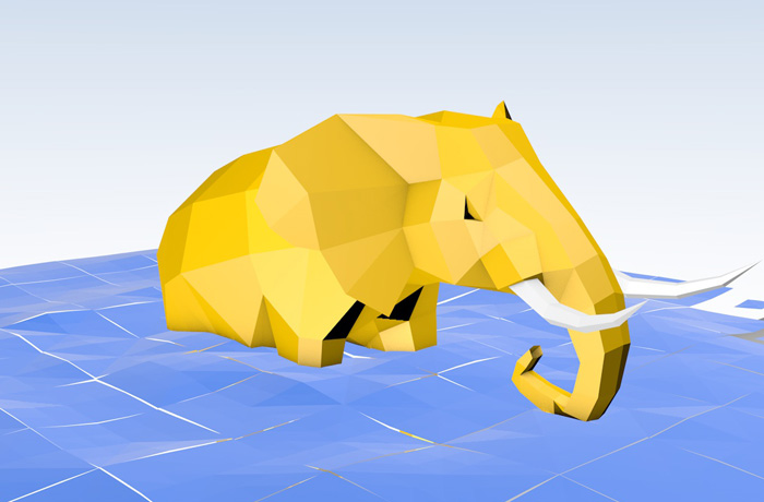 Elefant im Origami-Stil