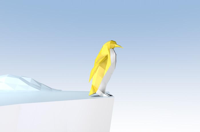 Pinguin im Origami-Stil