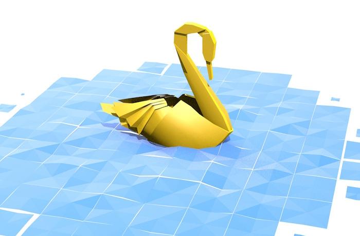 Schwan im Origami-Stil