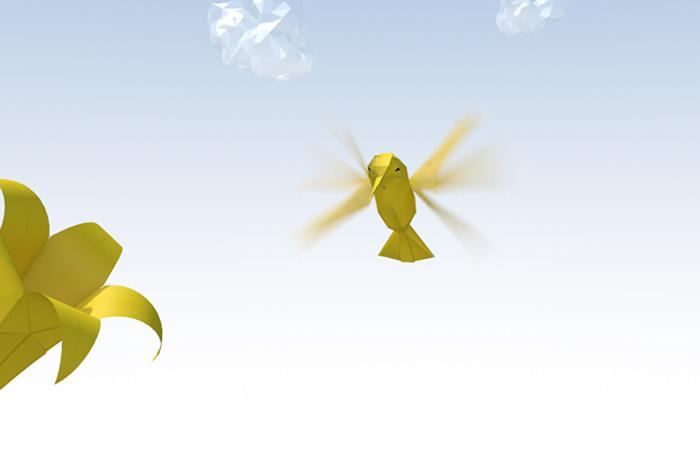 Vogel im Origami-Stil