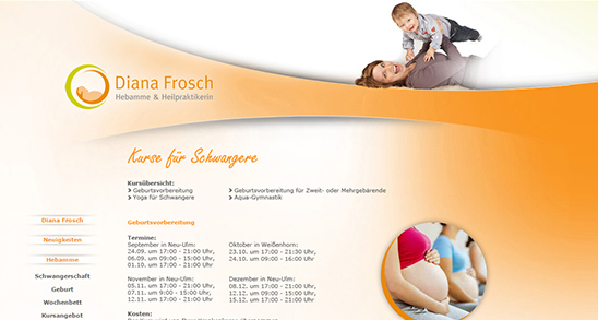 Alte Website der Fitness Hebamme